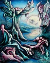 Fantastique -  perles de lune -  naissance Dragons - une Peinture huile