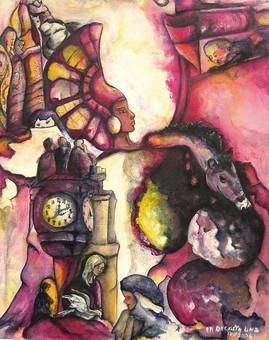 Poster reproduction tableau fantastique invasion acrylique pigments